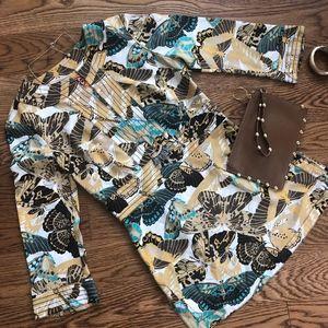 Tory Burch Silk Butterfly Side Zip Tunic Top